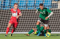 Victor Jatobá (Næstved Boldklub) og Anders Holst (FC Helsingør) under træningskampen mellem FC Helsingør og Næstved Boldklub den 19. august 2020 på Helsingør Stadion (Foto: Claus Birch).