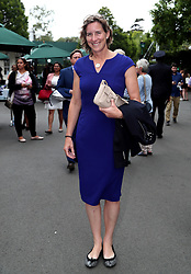 Katherine Grainger arrives on day eight of the Wimbledon Championships at The All England Lawn Tennis and Croquet Club, Wimbledon.