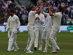 August 12, 2018 - London, Greater London, United Kingdom - England's Stuart Broad celebrates LBW on Dinesh Karthik of India during International Test Series 2nd Test 4th day  match between England and India at Lords Cricket Ground, London, England on 12 August  2018. (Credit Image: © Action Foto Sport/NurPhoto via ZUMA Press)
