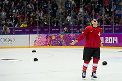 20.02.2014, Bolshoy Ice Dome, Adler, RUS, Sochi, 2014, Eishockey Damen, Spiel um die Bronzemedaille, im Bild Lara Stalder (SUI) jubelt nach dem Spiel, freuen sich ueber den Gewinn der Bronze Medaille, // during Womens Icehockey Match for Bronze Medal of the Olympic Winter Games Sochi 2014 at the Bolshoy Ice Dome in Adler, Russia on 2014/02/20. EXPA Pictures © 2014, PhotoCredit: EXPA/ Freshfocus/ Urs Lindt<br /> <br /> *****ATTENTION - for AUT, SLO, CRO, SRB, BIH, MAZ only*****