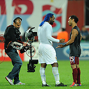 Trabzonspor's ALANZINHO (R) and CSKA Moskva's Vagner LOVE (C) during their UEFA Champions League group stage matchday 4 soccer match Trabzonspor between CSKA Moskva at the Avni Aker Stadium at Trabzon Turkey on Wednesday, 02 November 2011. Photo by TURKPIX