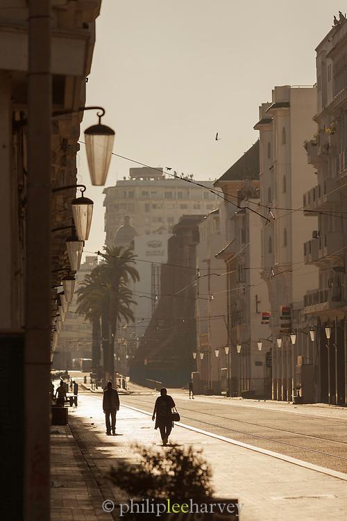 People walking Boulevard Mohammed V in Casablanca, Morocco.