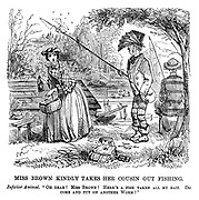 """The Ladies of the Creation; Or, how I was cured of being a strong-minded woman. Miss Brown Kindly Takes her Cousin out Fishing. Inferior animal. """"Oh dear! Miss Brown! Here's a fish taken all my bait. Do come and put on another worm!"""""""