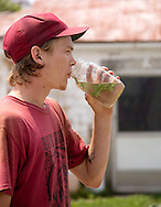 Hunter takes a break from milking to take a drink of water with mint at Laurel Valley Creamery near Galipolis. (Will Shilling/CRAVE)