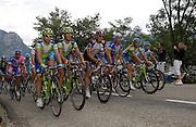 FRANCE SUNDAY 22ND JULY: Tour de France Stage 14 Mazamet - Plateau-de-Beille, 197km. The autobus ascends Plateau de Beille.