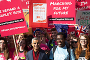 Sadiq Khan – Mayor of London joins the head of The People's Vote March For The Future on 20th October 2018 in London, United Kingdom. More than an estimated 500,000 people marched on Parliament to demand their democratic voice to be heard in a landmark demonstration billed as the most important protest of a generation. As the date of the UK's Brexit from the European Union, the protesters gathered in their tens of thousands to make political leaders take notice and to give the British public a vote on the final Brexit deal.