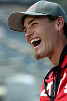 """Jul 01, 2003; Anaheim, California, USA; Moto X star athlete MIKE METZGER laughs while being interviewed at Disney's California Adventure """"X Games Experience"""".  <br />Mandatory Credit: Photo by Shelly Castellano/Icon SMI<br />(©) Copyright 2003 by Shelly Castellano"""
