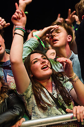 © Licensed to London News Pictures. 31/05/2014. Barcelona, Spain.   Festival atmosphere at Primavera Sound festival Day 4 - fans in the front row of the audience cheer and dance as rapper Kendrick Lamar performs.   Primavera Sound, or simply Primavera, is an annual music festival that takes place in Barcelona, Spain in late May/June within the Parc del Fòrum leisure site. Photo credit : Richard Isaac/LNP