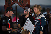 Whip off winner Ryan Howard accepts his winner's cheque from Crankworx general manager Darren Kinnaird (left) during the Oceania Whip-Off Championships at the inaugural Crankworx Rotorua event held at Skyline Rotorua, Rotorua, New Zealand, March 25-29, 2015.