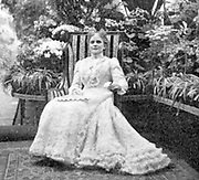 Wife of president William McKinley in the conservatory of the White House at Washington.