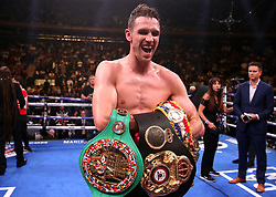 Callum Smith celebrates his win against Hassan N'Dam in the WBA 'Super' World, WBC Diamond, Ring Magazine Super-Middlesweight title fight at Madison Square Garden, New York.