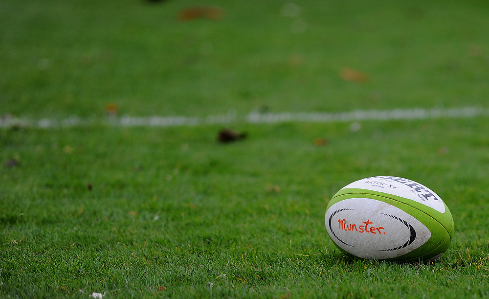Munster A's Training ball<br /> <br /> Photographer Ashley Crowden/CameraSport<br /> <br /> The British & Irish Cup Pool 1 - Ospreys Premiership Select v Munster A - Saturday 14th October 2017 - St Helen's, Swansea<br /> <br /> World Copyright © 2017 CameraSport. All rights reserved. 43 Linden Ave. Countesthorpe. Leicester. England. LE8 5PG - Tel: +44 (0) 116 277 4147 - admin@camerasport.com - www.camerasport.com