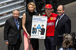 Prince Albert and Princess Charlene of Monaco, Jean Todt, Charles Leclerc pose along the pit lane at the 77th Monaco Grand Prix, Monaco on May 26th, 2019. Photo by Marco Piovanotto/ABACAPRESS.COM