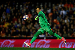 April 6, 2017 - Valencia, Valencia, Spain - Diego Alves goalkeeper of Valencia CF kicks the ball during the La Liga match between Valencia CF and Real Club Celta de Vigo at Mestalla Stadium on April 6, 2017 in Valencia, Spain. (Credit Image: © David Aliaga/NurPhoto via ZUMA Press)