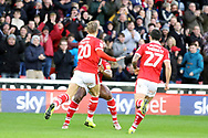 GOAL Barnsley midfielder Brad Potts (20) scores to make it 1-0 and celebrates during  the EFL Sky Bet League 1 match between Barnsley and Charlton Athletic at Oakwell, Barnsley, England on 29 December 2018.
