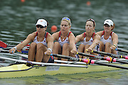 Lucerne SWITZERLAND,  USA W4X. Bow Stesha CARLE, Megan KALMOE, Esther LOFGREN and Natalie DELL, at the   2011 FISA World Cup on the Lake Rotsee.  15:12:23  Saturday   09/07/2011   [Mandatory Credit Peter Spurrier/ Intersport Images]