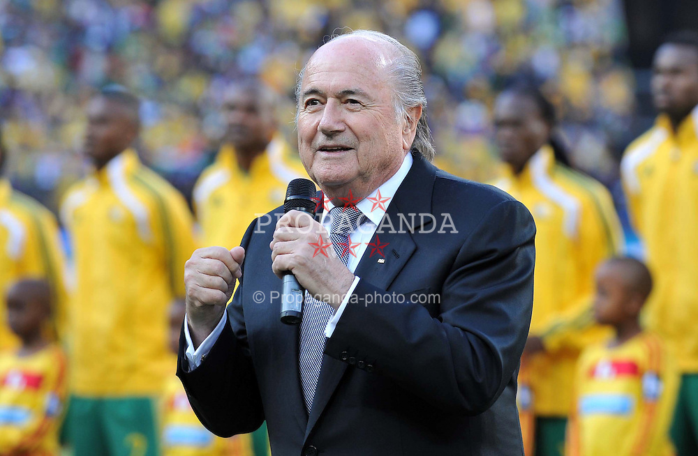JOHANNESBURG, SOUTH AFRICA - Friday, June 11, 2010: FIFA president Joseph Sepp Blatter speaks at the the opening Group A match between South Africa and Mexico during the 2010 FIFA World Cup South Africa at the Soccer City Stadium. (Pic by Hoch Zwei/Propaganda)