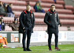 AFC Bournemouth manager Eddie Howe (left) and assistant manager Jason Tindall during the Emirates FA Cup, Third Round Replay at the DW Stadium, Wigan.