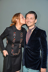 LINDSAY LOHAN and MATTHEW WILLIAMSON at the Duresta For Matthew Williamson Exclusive Launch At Harrods, Knightsbridge, London on 10th March 2016.