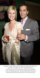 Fashion writer MISS LUCY SYKES and MR EUAN RELIE, at a party in London on 6th June 2001.OPA 1