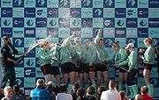 Mortlake/Chiswick, GREATER LONDON. United Kingdom. 2017 Women's Boat Race winners CUWBC, celebrate, winning the raceThe Championship Course, Putney to Mortlake on the River Thames.<br /> <br /> Crew:Bow: Ashton Brown – CAN/AUS, 2: Imogen Grant, 3: Claire Lambe – IRL, 4: Anna Dawson, 5: Holly Hill, 6: Alice White, 7: Myriam Goudet – FRA, Stroke: Melissa Wilson and Cox: Matthew Holland Coach, Rob BAKER<br /> <br /> <br /> Sunday  02/04/2017<br /> <br /> [Mandatory Credit; Peter SPURRIER/Intersport Images]