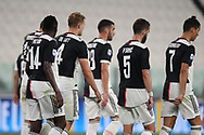Juventus's Portuguese striker Cristiano Ronaldo leads team mates back to the centre circle following Dutch defender Matthijs De Ligt's goal during the Serie A match at Allianz Stadium, Turin. Picture date: 26th June 2020. Picture credit should read: Jonathan Moscrop/Sportimage