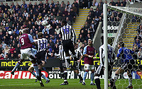 Photo. Glyn Thomas.<br /> Newcastle United v Aston Villa. Barclaycard Premiership.<br /> St James' Park, Newcastle. 01/11/03.<br /> Dion Dublin (L) puts Villa 1-0 up early in the first half with a header which flew past Newcastle keeper Shay Given (R).