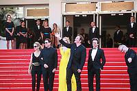 Kelly Preston, John Travolta, Uma Thurman, Quentin Tarantino, Lawrence Bender, and Thierry Fremaux at Sils Maria gala screening red carpet at the 67th Cannes Film Festival France. Friday 23rd May 2014 in Cannes Film Festival, France.