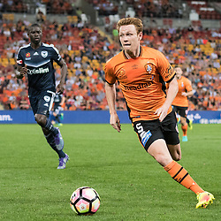 BRISBANE, AUSTRALIA - OCTOBER 7: Corey Brown of the Roar controls the ball during the round 1 Hyundai A-League match between the Brisbane Roar and Melbourne Victory at Suncorp Stadium on October 7, 2016 in Brisbane, Australia. (Photo by Patrick Kearney/Brisbane Roar)