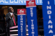 Former presidential candidate Ben Carson addresses delegates on the second day of the Republican National Convention July 19, 2016 in Cleveland, Ohio. The delegates formally nominated Donald J. Trump for president after a state by state roll call.