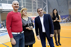 and Roman Volcic during Slovenian basketball All Stars Grosuplje 2013 event, on December 29, 2013 in Arena Brinje, Grosuplje, Slovenia. (Photo By Urban Urbanc / Sportida.com)