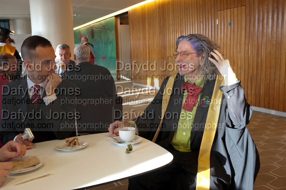 MARC FUNDA; BETTE BOURNE; Central School of Speech and Drama presents Honory Fellowships to Carrie Fisher, Bette Bourne, Joseph Selig and Helen Lannaghan. Royal Festival Hall. London. 12 December 2011.