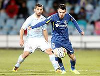 Getafe's Moi Gomez (r) and Celta de Vigo's Jonny Castro during La Liga match. February 27,2016. (ALTERPHOTOS/Acero)