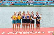 Eton Dorney, Windsor, Great Britain,<br /> <br /> 2012 London Olympic Regatta, Dorney Lake. Eton Rowing Centre, Berkshire[ Rowing].<br /> <br /> Description; Women's Pairs,  Gold Medalist Helen GLOVER and Heather STANNING. GBR W2-   Dorney Lake.<br /> <br /> 12:27:59  Wednesday  01/08/2012<br /> <br /> [Mandatory Credit: Peter Spurrier/Intersport Images]