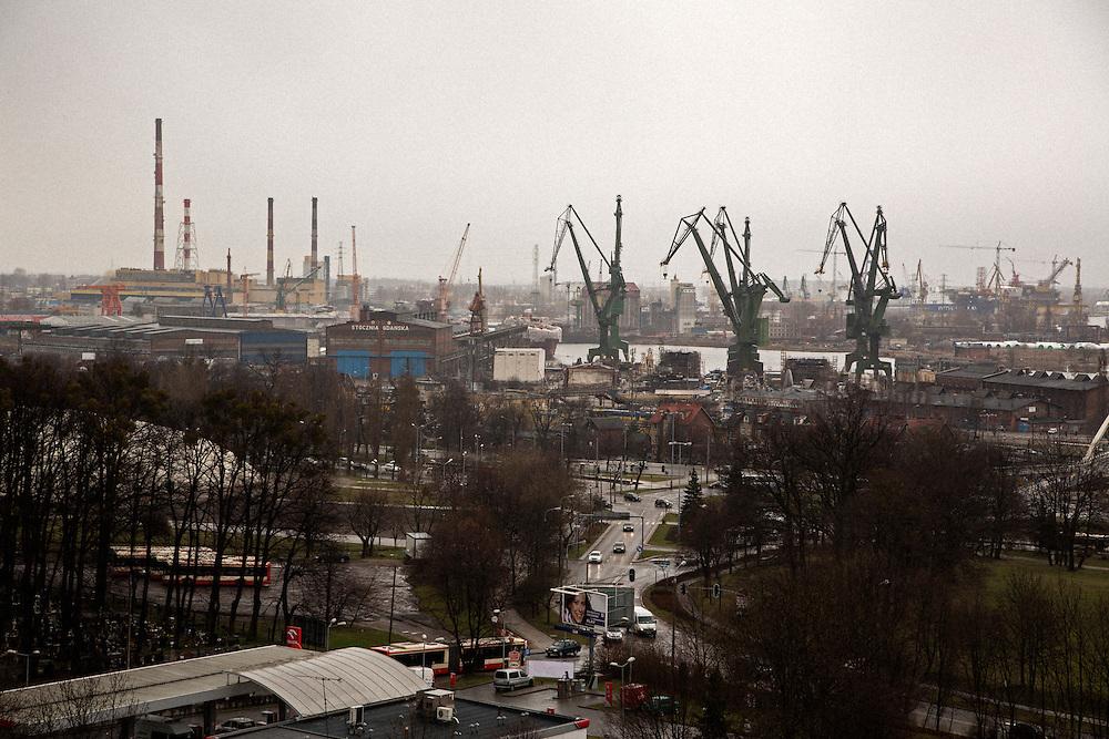 Iconic cranes of Gdansk shipyard.<br /> <br /> Gdansk and Remontowa Shipyards