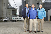SHOT 10/29/18 9:47:35 AM - Sunrise Cooperative is a leading agricultural and energy cooperative based in Fremont, Ohio with members spanning from the Ohio River to Lake Erie. Sunrise is 100-percent farmer-owned and was formed through the merger of Trupointe Cooperative and Sunrise Cooperative on September 1, 2016. Photographed at the Clyde, Ohio grain elevator was George D. Secor President / CEO and John Lowry<br /> Chairman of the Board of Directors with  CoBank RM Gary Weidenborner. (Photo by Marc Piscotty © 2018)