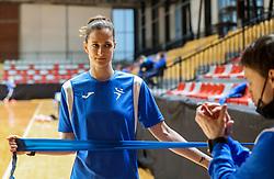 Ana Gros and Marko Mrak during practice session of Slovenian National Women team before 2021 World Women's Handball Championship qualifying match against Iceland, on April 12, 2021 in Arena Kodeljevo, Ljubljana, Slovenia. Photo by Vid Ponikvar / Sportida