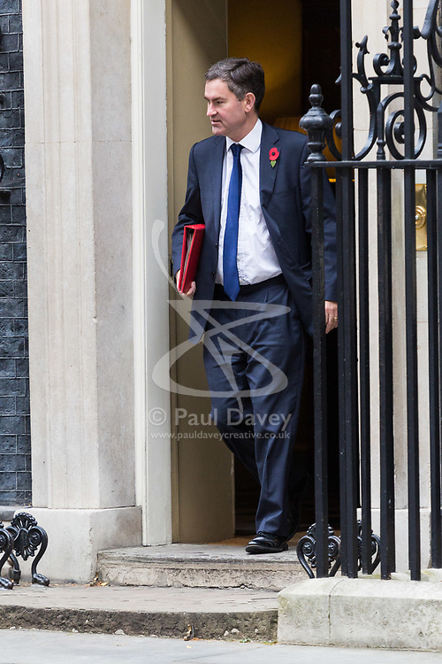 London, October 31 2017. Secretary of State for Work and Pensions David Gauke leaves the weekly UK cabinet meeting at Downing Street. © Paul Davey
