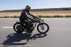 Doug Wothke of Alabama, an experienced long distance rider who has ridden a 1948 Indian Chief around the world as well as a 1962 Panhead chopper around the world, here riding his 1916 Indian during the Motorcycle Cannonball Race of the Century. Stage-13 ride from Williams, AZ to Lake Havasu CIty, AZ. USA. Friday September 23, 2016. Photography ©2016 Michael Lichter.
