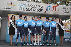 February 14, 2018 - Lagos, Portugal - Movistar Team before the 1st stage of the cycling Tour of Algarve between Albufeira and Lagos, on February 14, 2018. (Credit Image: © Str/NurPhoto via ZUMA Press)