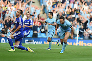 Frank Lampard of Man city 'celebrates' after he scores his sides 1st goal to make it 1-1, Chelsea's John Terry looks on dejected. Barclays premier league match, Manchester city v Chelsea at the Etihad stadium in Manchester,Lancs on Sunday 21st Sept 2014<br /> pic by Andrew Orchard, Andrew Orchard sports photography.