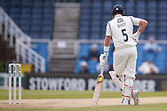 Yorkshire Batsman Joe Root  at the non strikers end  during the Specsavers County Champ Div 1 match between Yorkshire County Cricket Club and Surrey County Cricket Club at Headingley Stadium, Headingley, United Kingdom on 10 May 2016. Photo by Simon Davies.