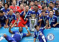 Football - 2014 / 2015 Premier League - Chelsea vs. Sunderland.   <br /> <br /> Chelsea players display the Barclay's Premier League Trophy at Stamford Bridge. <br /> <br /> COLORSPORT/DANIEL BEARHAM