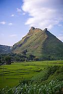 Mountainous landscape along the road (QL 32) between Mu Cang Chai and Than Uyen, Vietnam, Southeast Asia