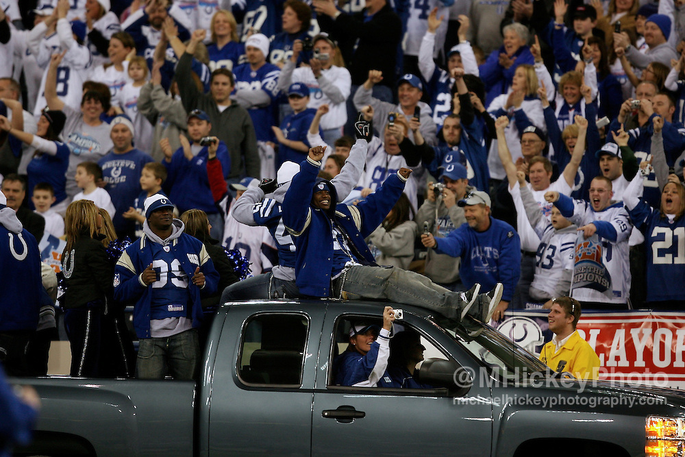Members of the Indianapolis Colts arrive at the Super Bowl Victory Celebration at the RCA Dome in Indianapolis, Indiana on February 5, 2007.