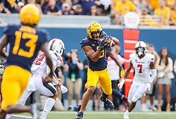 Oct 2, 2021; Morgantown, West Virginia, USA; West Virginia Mountaineers wide receiver Isaiah Esdale (9) catches a touchdown pass during the third quarter against the Texas Tech Red Raiders at Mountaineer Field at Milan Puskar Stadium. Mandatory Credit: Ben Queen-USA TODAY Sports