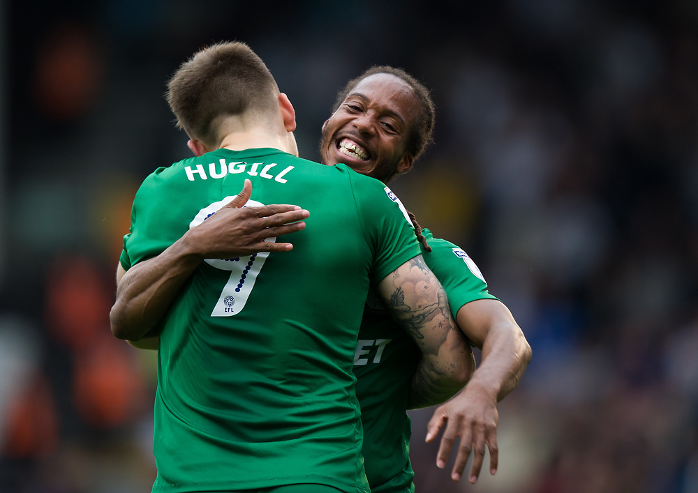 Preston North End's Jordan Hugill congratulated by Daniel Johnson after the first goal<br /> <br /> Photographer Ashley Western/CameraSport<br /> <br /> The EFL Sky Bet Championship - Fulham v Preston North End - Saturday 14th October 2017 - Craven Cottage - London<br /> <br /> World Copyright © 2017 CameraSport. All rights reserved. 43 Linden Ave. Countesthorpe. Leicester. England. LE8 5PG - Tel: +44 (0) 116 277 4147 - admin@camerasport.com - www.camerasport.com