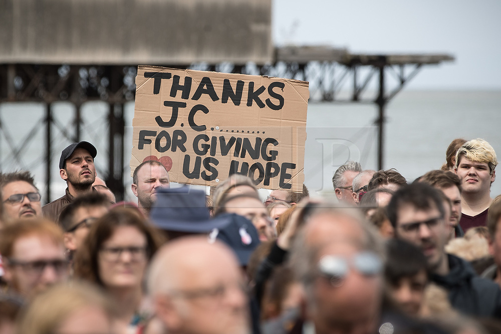 """© Licensed to London News Pictures . 07/06/2017. Colwyn Bay, UK. Placard reading """" Thanks JC for giving us hope """" . Labour Party leader Jeremy Corbyn holds a campaign rally at Colwyn Bay on the final day of the General Election campaign ahead of polls opening tomorrow (8th July 2017) . Photo credit: Joel Goodman/LNP"""