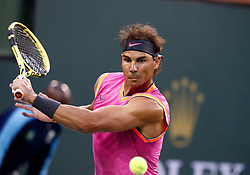 March 10, 2019 - Indian Wells, CA, U.S. - INDIAN WELLS, CA - MARCH 10: Rafael Nadal (ESP) hits a backhand during the second round of the BNP Paribas Open on March 10, 2019, at the Indian Wells Tennis Gardens in Indian Wells, CA. (Photo by Adam Davis/Icon Sportswire) (Credit Image: © Adam Davis/Icon SMI via ZUMA Press)
