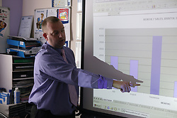 Teacher using charts and projector screen,